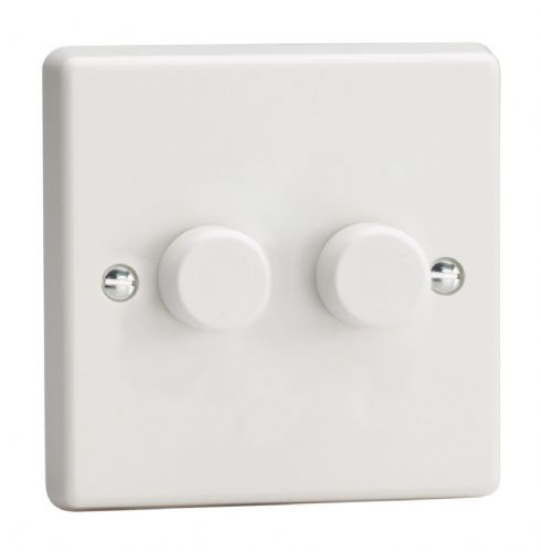 Varilight HQ4W White Plastic 2 Gang 2-Way Push-On/Off Dimmer 40-250W V-Dim